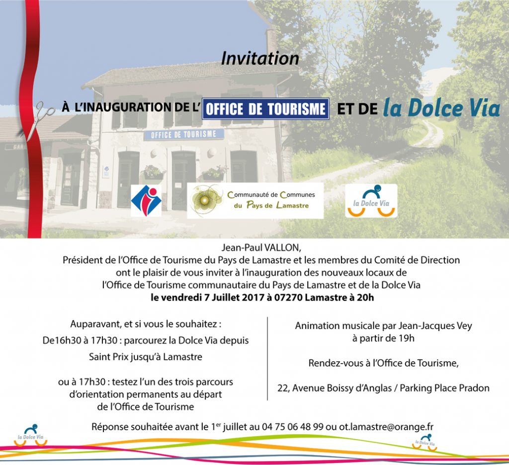 dolce via office tourisme lamastre inauguration