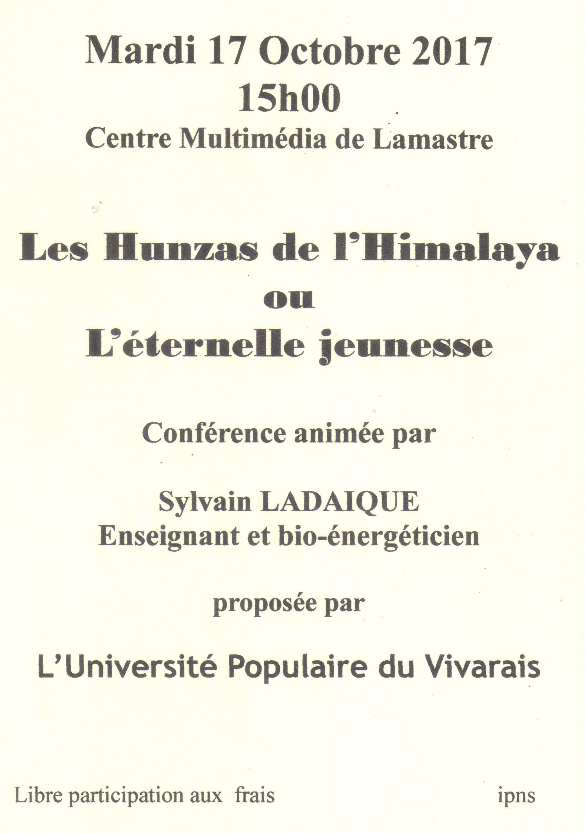 Affiche conférence Les Hunzas