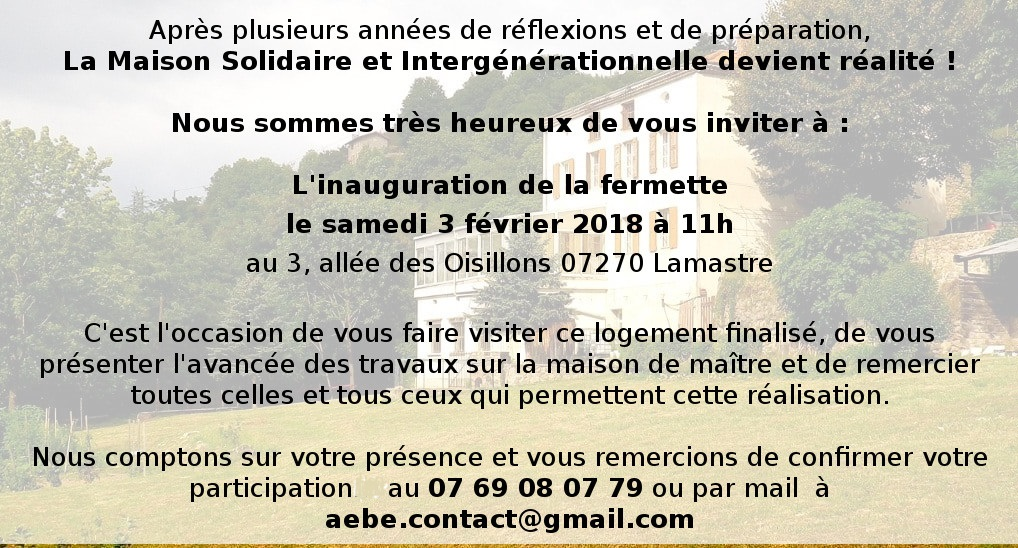 INAUGURATION MAISON SOLIDAIRE LAMASTRE AEBE