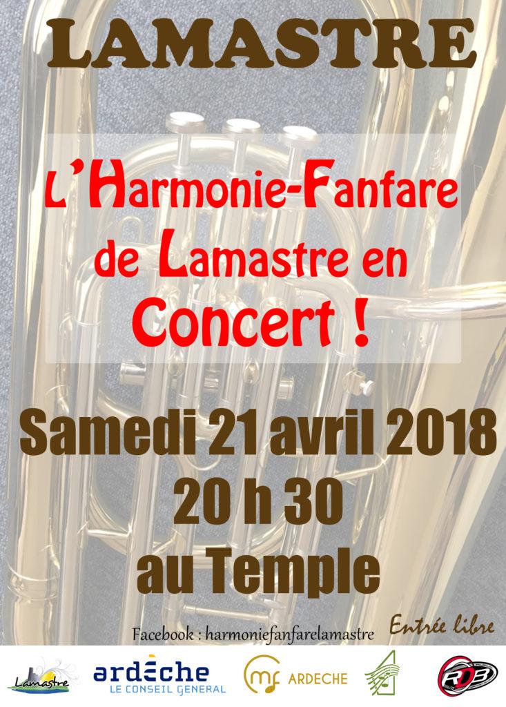 Affiche Concert fanfare lamastre 21avr2018