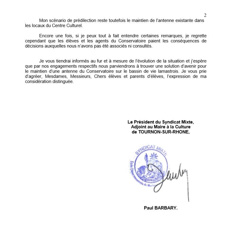 COURRIER ECOLE MUSIQUE AUX ADHERENTS 2 PAUL BARBARY