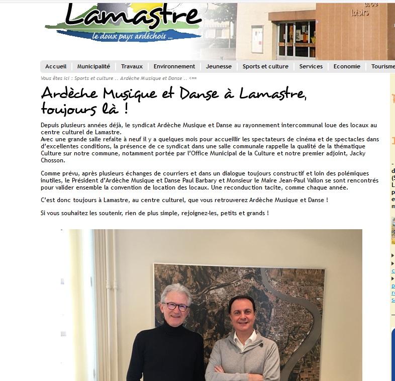 lamastre.fr ecole musique communiqué