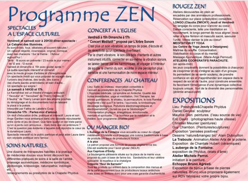 programme zen desaignes salon
