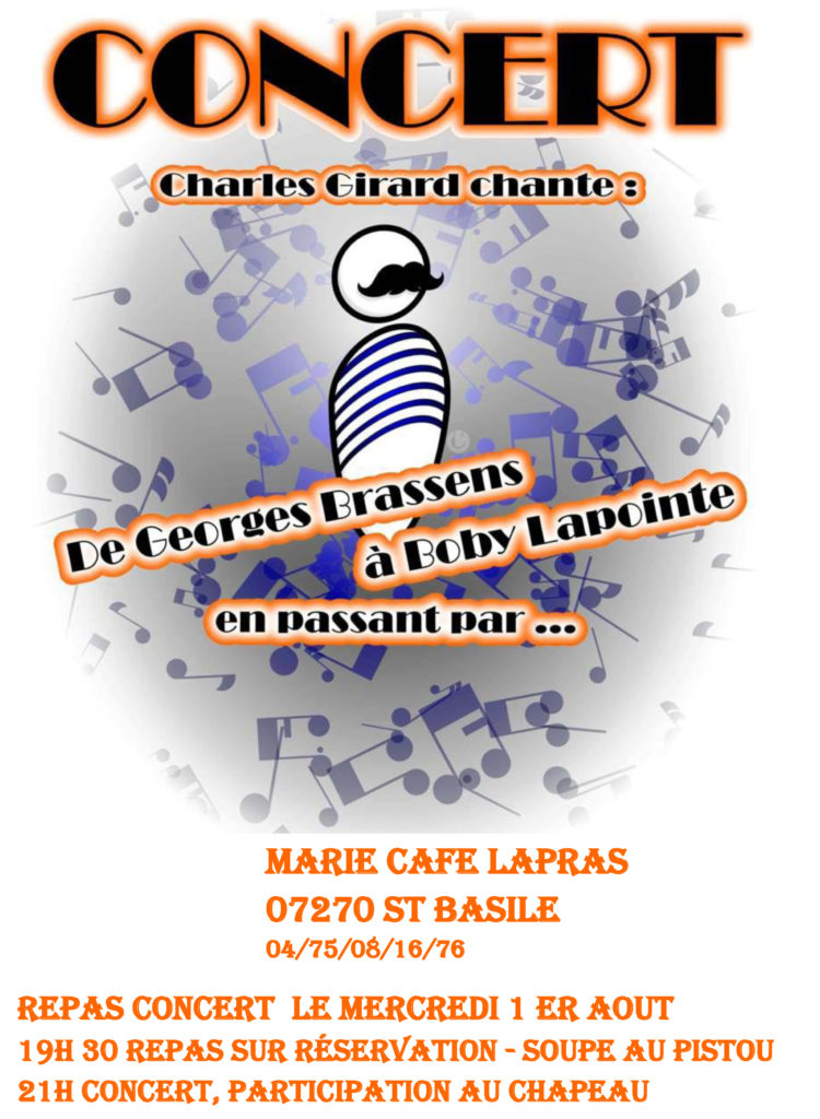 MARIE CAFE Lapras concert aout bobby lapointe brassens