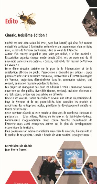 EDITO PRESIDENT CINEZIC TRESCOL