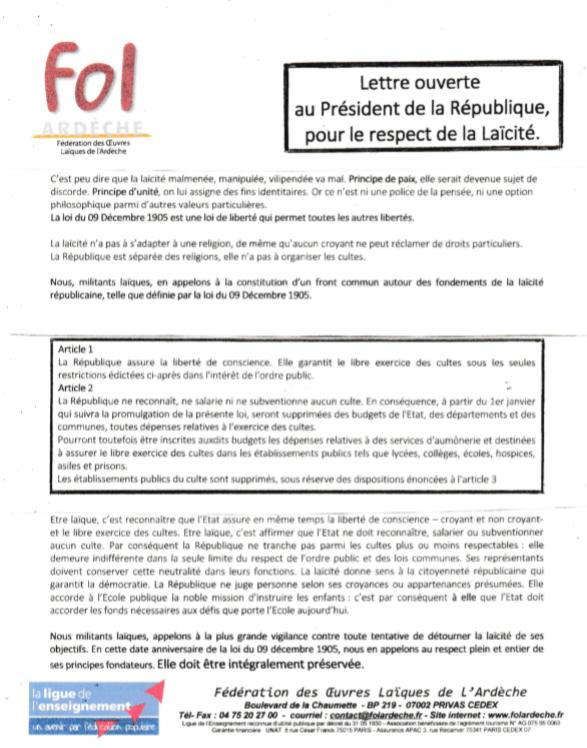 lettre ouverte laicité president