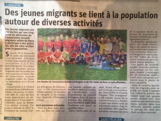 match foot migrant ASVD LAMASTRE AVIGNON DAUPHINE LIBERE