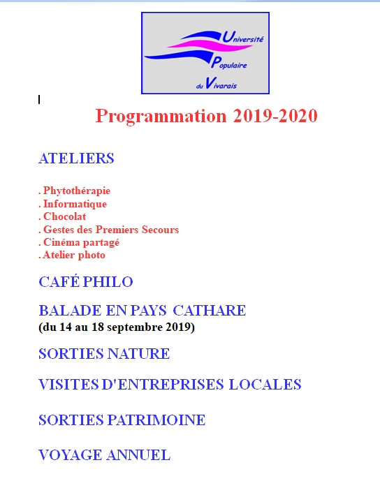 PROGRAMMATION 2019 2020 UPV