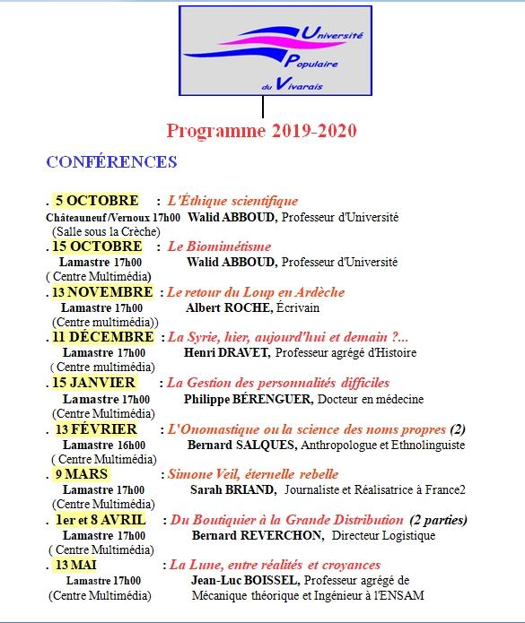 PROGRAMME 2019 2020 UPV