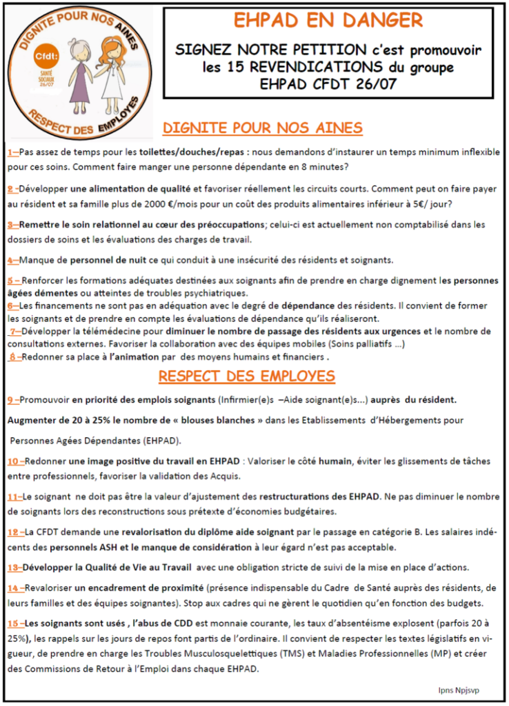 petition cfdt ehpad lamastre
