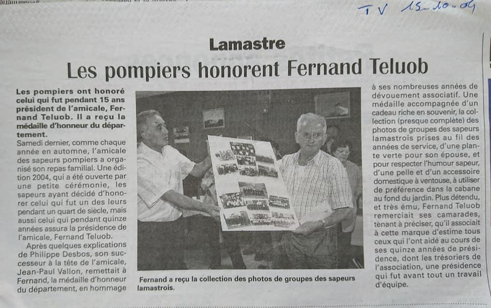 Fernand teluob amicale pompir hebdo ardeche TV