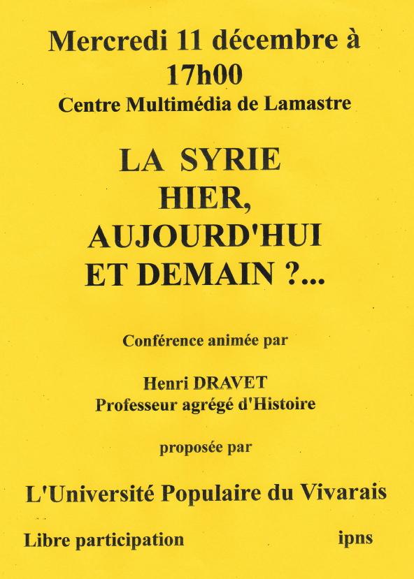 la syrie hier et aujourd'hui henri dravet