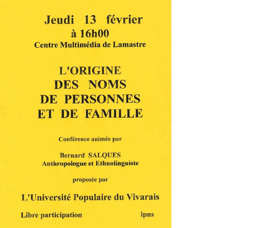 ORIGINE DES NOMS UPV LAMASTRE