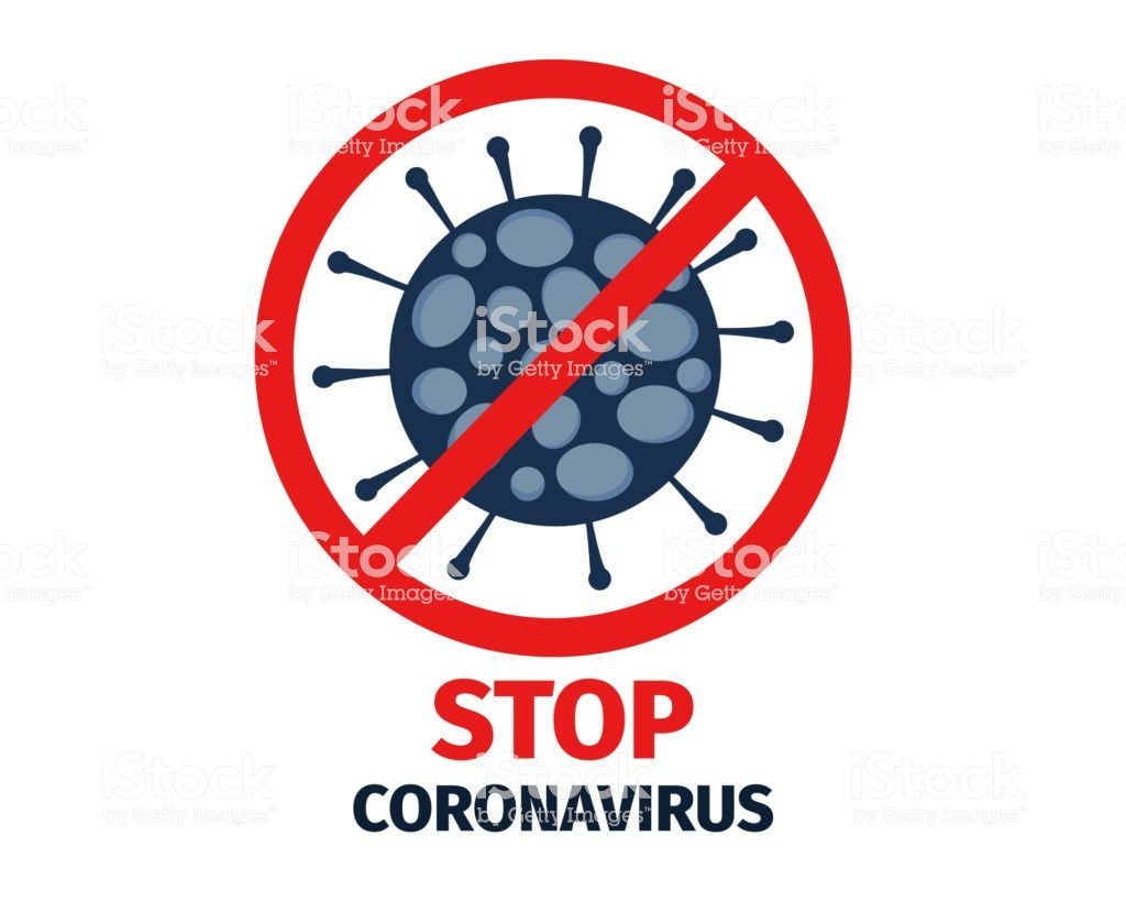 Vector illustration of coronavirus 2019-nCov and stop sign.