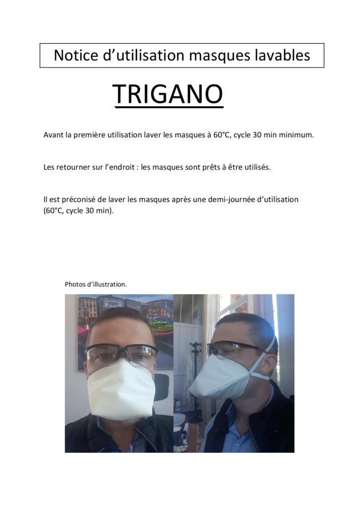 Notice masques lavables TRIGANO Lamastre