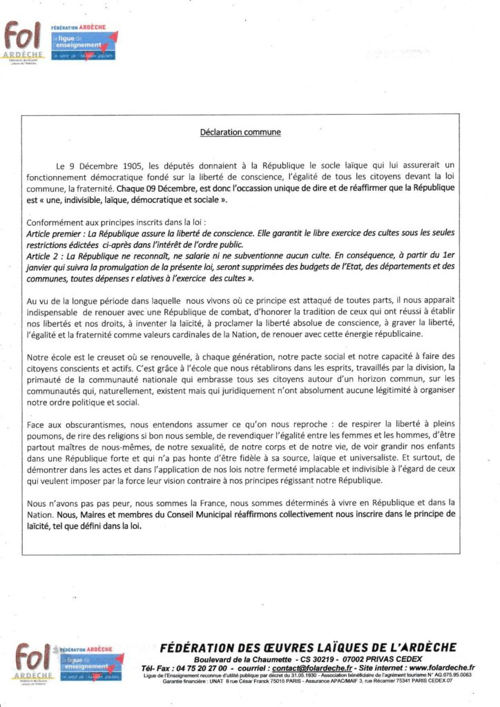 declaration commune laicité 1905 2020