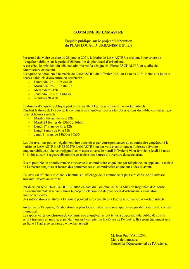 PLU LAMASTRE enquete publique janvier 2021