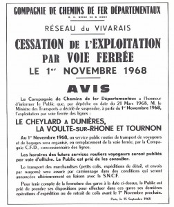 arrêté fermeture CFD 1968 Ardèche