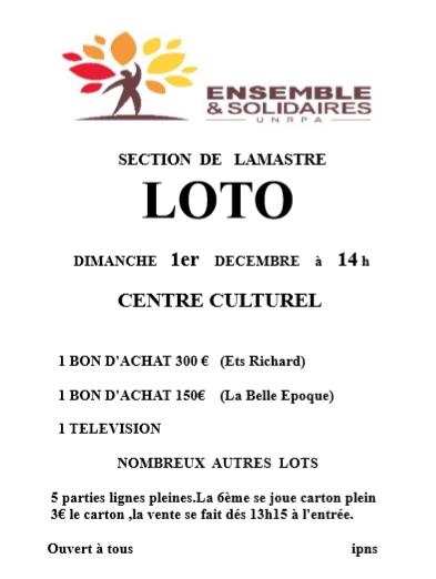 loto ensemble solidaires lamastre 2019