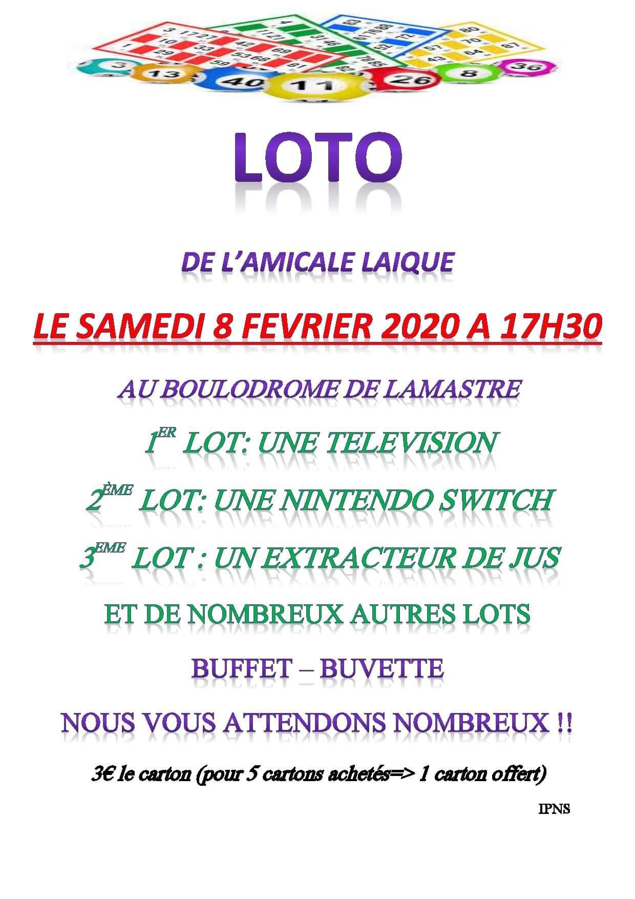 loto amicale laique lamastre 2020